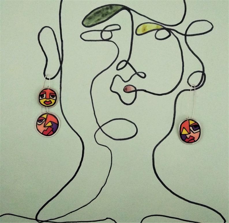 Colors on Metals Triple earrings Silver 925 hook Dangle and drop earrings Cubism art Cubism art jewel Art to wear Handmade earrings
