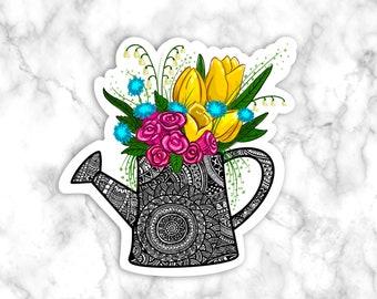 Floral Watering Can Sticker, Gardening Watering Can Sticker, laptop Sticker, phone sticker, Tumbler sticker, bumper sticker, Plant lover