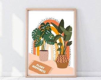 Plant Happiness Print | Plant Loves Print | Plant Print | Plants Lady Gift | Plant Wall Art | Printable Plant | House Plant Printable Prints