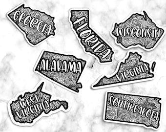 United States Stickers, Laptop Sticker, Friend gift, State Stickers, Vinyl Stickers for Hydroflask, Vinyl Stickers for Laptop, Home Stickers