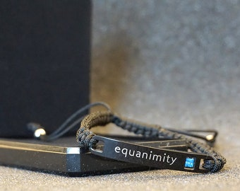 Equanimity statement bracelet, stainless steel, unisex style, easily adjustable, reminder word concept accessory