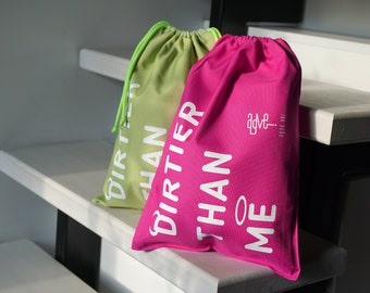 Two-layer waterproof bag, drawstring dirty clothes travel/home bag 'DIRTIER THAN ME'