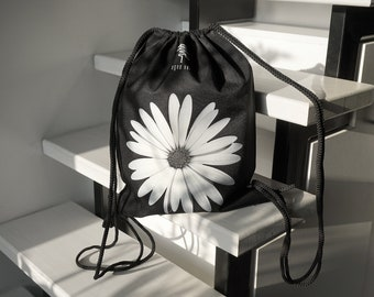 Black drawstring backpack and canvas bag, he loves me theme, flower power design