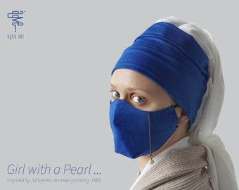 Conceptual face mask, inspired by girl with a pearl, unique and unusual, designer face mask