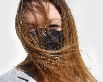 Designer face mask, minimalist style, reflective mask, unisex or couple choice