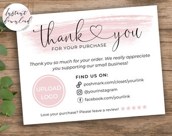 Printable Thank You Cards Business Template Poshmark Etsy Small Business Thank You For Your Purchase Editable Customer Packaging Insert Note