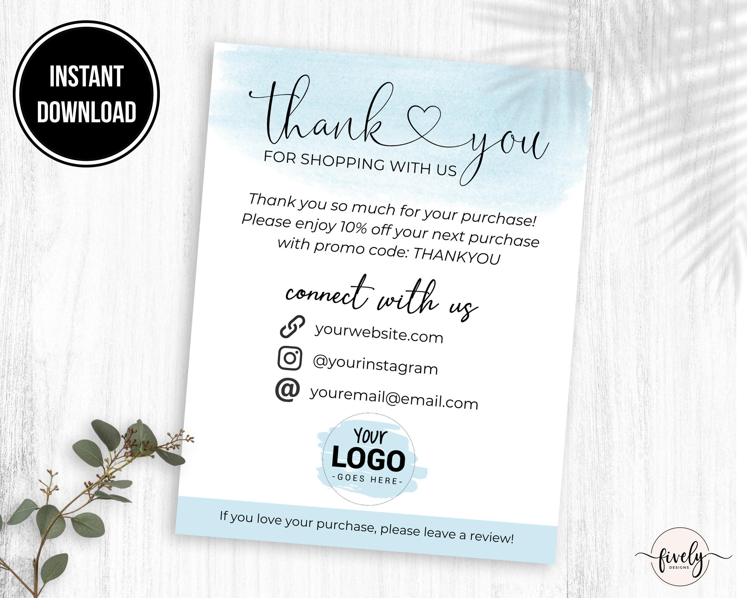 Thank You Business Card Template, Custom Thank You Cards For Poshmark Etsy  Mercari Ebay, Thank You Business Inserts, Customer Thank You Note