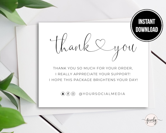 Poshmark Card Thank You Card Template Editable Shopping Card Instant Download