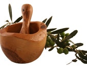 Rustic round mortar 14 cm and olive wood pestle (314)