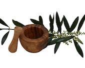 Flat edge mortar 8 cm and olive wood pestle (6422)