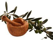 Rustic round mortar 10 cm and olive wood pestle (310 10)