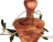 Natural conical mortar 10 cm and olive wood pestle (6428)