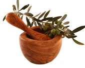 Rustic round mortar 16 cm and olive wood pestle (316)