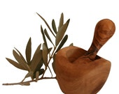Rustic 8 cm mortar and olivewood pestle (341R)