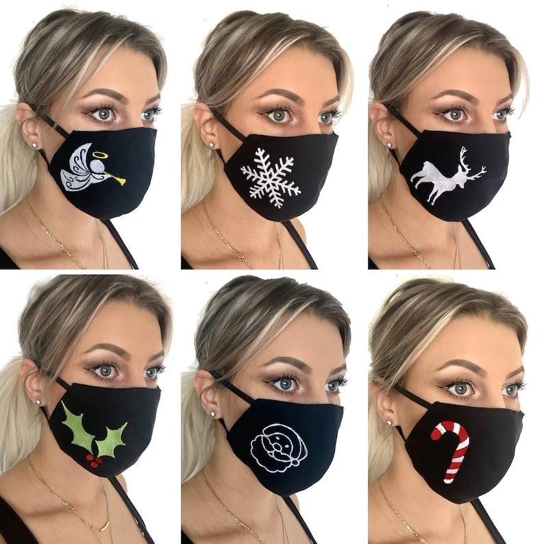 Set of 6 Christmas Face Masks Cotton Christmas Face Mask image 0