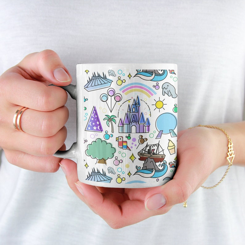 Disney World Doodle Coffee Mug Disney Mug Disney Parks image 0