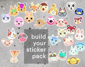 Animal Crossing Inspired Sticker Pack, Animal Crossing Pack of Stickers, Animal Crossing Laptop Stickers, ACNH sticker pack, ACNH gift