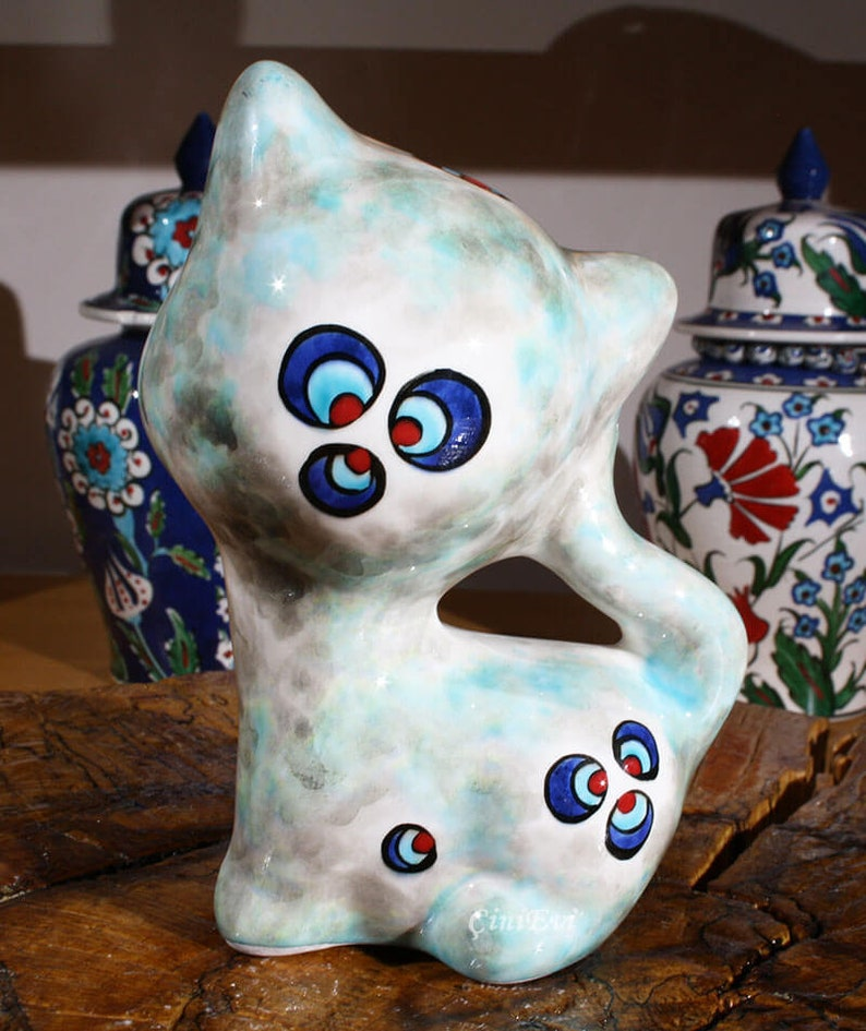 Handcrafted Lovely Cat Trinket 6.5 inch Handpainted Pottery Handmade Ceramic Cat Trinket Cute Cat Figurine Home and Garden Decor