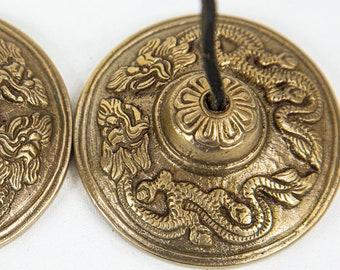 "SALE END TOnight!Tibetan 3"" Handmade 7 metals Tingsha Dragon - Best sound and best Quality"