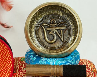 """SALE END TOnight!Best Tibetan 4,5"""" OM Singing bowl with 3 style for Meditation, Yoga, Chakra balancing and healing sound"""