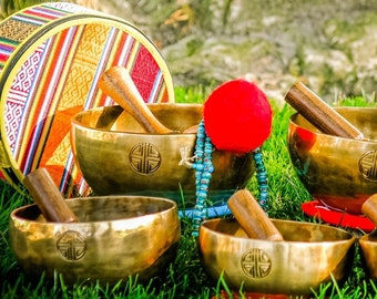 7 FULLMOON chakras SET 7 bowls Tibetan Handmade singing bowl for sound healing, meditation, yoga, chakra . et