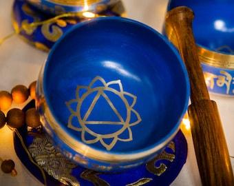 "SALE END TOnight!ALL Blue with chakra symbols 3"" Handhammering  Singingbowls for sound healing, meditation, yoga and charka balancing"