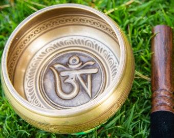 "SALE END TOnight!Lagre Tibetan 5"" Om Hand Craving Singingbowls for sound healing, meditation, yoga and charka balancing"