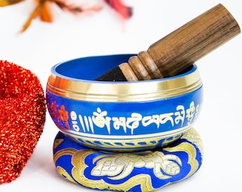 "SALE END TOnight!Colorful Design Tibetan 3.5"" Singing bowl  with colorful cushion for Third eye chakra, sound healing, meditation, yoga"