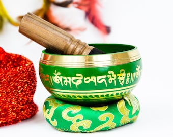 "SALE END TOnight!Colorful Design Tibetan 3.5"" Singing bowl for Fourth chakra,sound healing, meditation, yoga and chakra balancing"