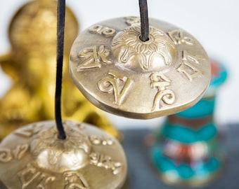 "SALE END TOnight!Tibetan 3"" Handmade 7 metals Tingsha  - Best sound and Quality Cymbal Meditation Yoga Tingsha Meditation Yoga Buddhist"