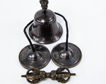 SALE END TOnight!Tibetan Pure Handmade 7 metals Bell and Dorje and Tingsha (cymbal) hight quality for Meditation, Yoga, Chakra blancing,