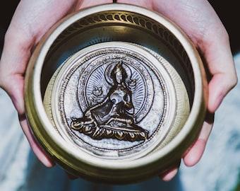"SALE END TOnight!Tibetan 4.5"" Green TARA Handcrafted Singing bowl for sound healing, meditation, yoga and charka balancing"