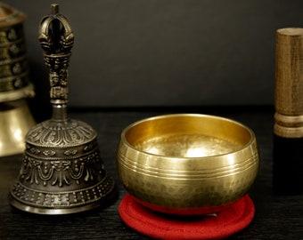 "SALE END TOnight!Meditation Set: Bell + 4"" Bowl Handhammering  Singingbowls for sound healing, meditation, yoga and charka balancing et"
