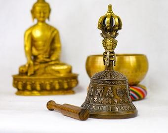 SALE END TOnight!Bell and 7 chakras bracelet Tibetan Nepal Handmade 7 metals for Meditation, Yoga, Chakra blancing,