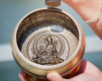 "SALE END TOnight!Tibetan 4.5"" Green TARA Handcrafted Singing bowl for chakra sound healing, meditation, yoga and charka balancing"