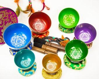 SALE END TOnight!7 chakra set Planetary Tibetan Handmade 7 pieces  singing bowl sound healing, meditation, yoga, chakra balancing.