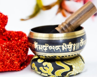 "SALE END TOnight!Colorful Design Tibetan 3.5"" Singing bowl sound healing, meditation, yoga and chakra balancing"