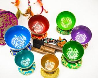 SALE END TOnight! Colorful 7 chakra Tibetan Handmade Hand painting singing bowl set sound healing, meditation, yoga, chakra balancing.