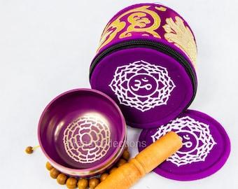 SALE END TOnight!Crown chakra set Tibetan Handmade singing bowl for sound healing, meditation, yoga chakra balancing. et