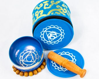 SALE END TOnight!Throat chakra set Tibetan Handmade singing bowl for sound healing, meditation, yoga chakra balancing. et