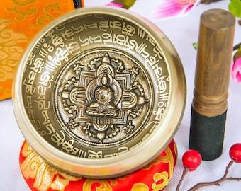 "SALE END TOnight!Tibetan 4,5"" Mandala Buddha Singing bowl with 3 style for Meditation, Yoga, Chakra blancing and healing.f"