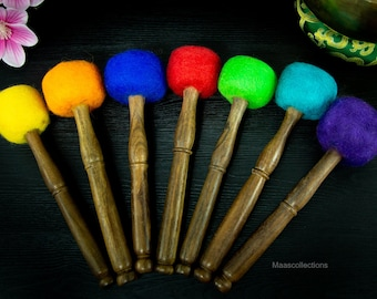 SALE END TOnight!Colorful drum stick for  Singing bowl for sound healing, meditation, yoga and chakra balancing