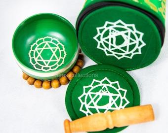 SALE END TOnight!Heart chakra set Tibetan Handmade singing bowl for sound healing, meditation, yoga chakra balancing. et