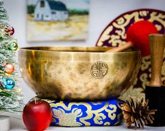 "SALE END TOnight!Gift Tibetan 10"" Full moon Handmade Singingbowl for Third eye chakra,sound healing, meditation, yoga chakra balancing"