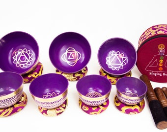 SALE END TOnight!Purple 7 chakra set Tibetan Handmade 7 pieces  singing bowl for sound healing, meditation, yoga and chakra balancing.