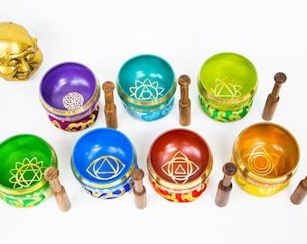 SALE END TOnight!7 Chakras Colorful set Planetary Tibetan Handmade 7 pieces  singing bowl for sound healing, meditation, yoga, chakra et