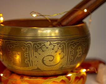 SALE END TOnight!Tibetan Hand Craving Singingbowls for sound healing, meditation, yoga and charka balancing anticque look. et