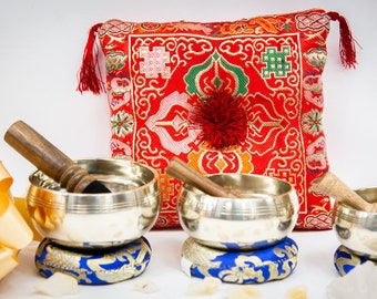 "SALE END TOnight!Tibetan 3 bowls Set 3""- 3.5- 4.'antique looks  Handcrafted Singing bowls for sound healing, meditation, yoga charka"