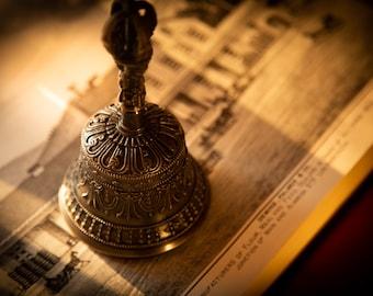 "SALE END TOnight!Tibetan 6"" Pure Handmade 7 metals Bell and  for Meditation, Yoga, Chakra blancing,"