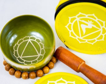 SALE END TOnight!Solar Plexus chakra set Tibetan Handmade singing bowl for sound healing, meditation, yoga chakra balancing. et